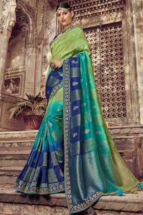 Stone Work Green and Blue Color Dola Art Silk Party Wear Saree