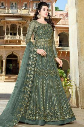 Stone Work Green Color Net Indo Western Salwar Kameez