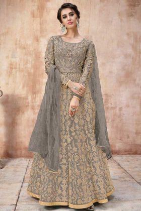 Stone Work Grey Color Net Anarkali Salwar Kameez