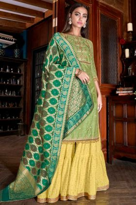 Stone Work Light Green Color Art Silk Slub Sharara Dress
