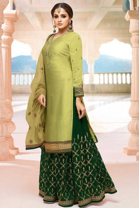 Stone Work Light Green Color Satin Georgette Indo Western Salwar Kameez