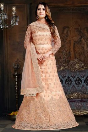 Stone Work Light Peach Color Satin Wedding Lehenga Choli