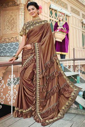 Stone Work Lycra Designer Ruffle Saree In Brown Color