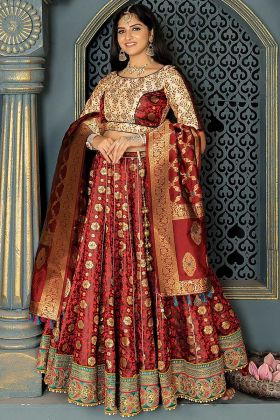Stone Work Maroon Color Banarasi Silk Designer Lehenga Choli