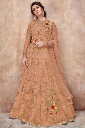 Stone Work Net Anarkali Salwar Kameez In Orange Color