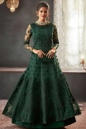Stone Work Net Anarkali Suit In Green Color