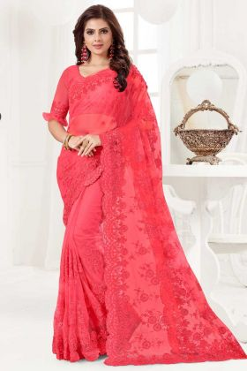 Stone Work Net Festival Saree In Dark Pink Color