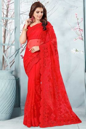 Stone Work Net Festival Saree In Red Color