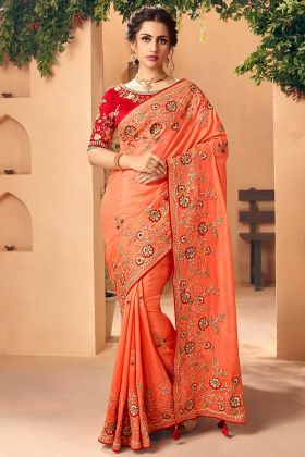 Stone Work Orange Color Art Silk Designer Saree