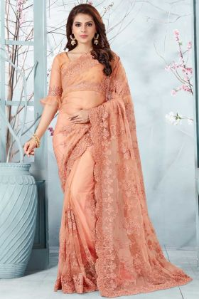 Stone Work Peach Color Net Party Wear Saree