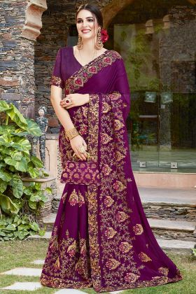 Stone Work Purple Color Satin Georgette Saree