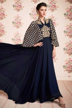Stone Work Real Georgette Navy Blue Color Gown Style Anarkali Salwar Suit