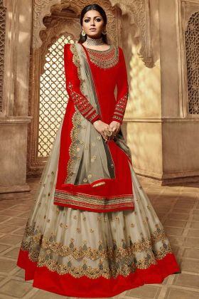 Stone Work Red Color Georgette Indo Western Salwar Kameez
