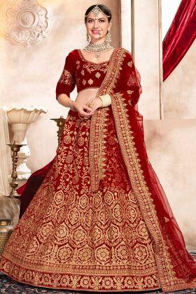 Stone Work Red Color Velvet Wedding Bridal Lehenga Choli