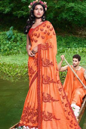 Stone Work Satin Georgette Party Wear Saree Orange Color
