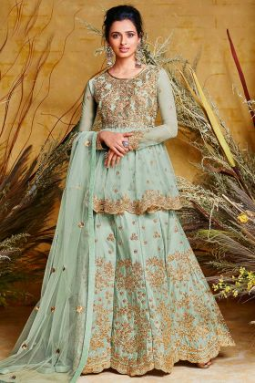 Stone Work Sea Green Color Heavy Net With Pure Silk Indo Western Salwar Kameez