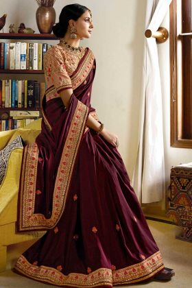 Stone Work Silk Festival Saree In Wine Color