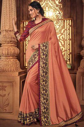Stone Work Silk Party Wear Saree Peach Color