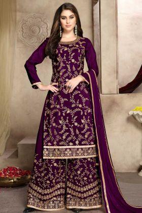 Stone Work Sof Silk Palazzo Dress In Purple Color