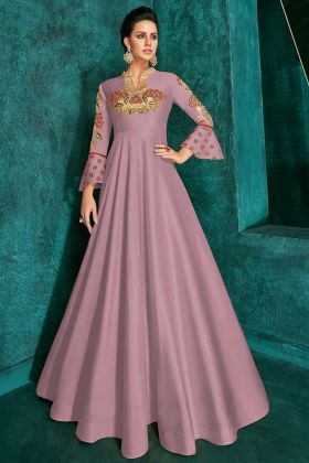 Stone Work Soft Art Silk Designer Gown In Mauve Pink Color