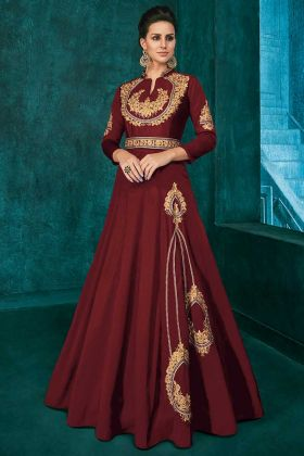 Stone Work Soft Art Silk Designer Gown Maroon Color