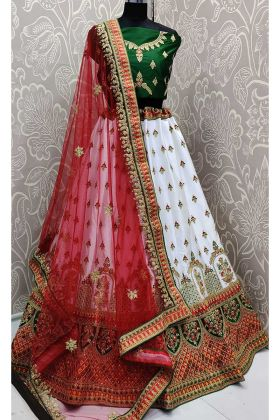 Stone Work White Color Satin Silk Bridal Lehenga Choli