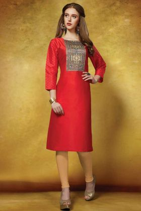 Straight Kurti Red With Taffeta Art Silk