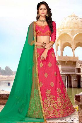 Straight Cut Designer Lehenga Choli in Art Silk Dark Pink Color
