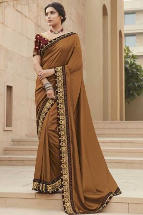 Stunning Brown Color Fancy Saree For Special Wedding