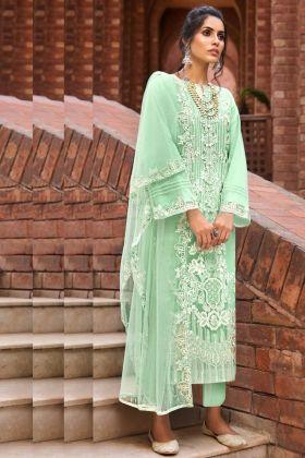 Stunning Butterfly Net Light Green Pakistani Salwar Suit Collection 2021
