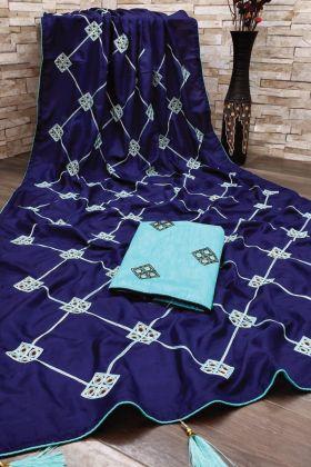 Stunning Dark Blue Dola Silk Saree With Gota Patti Work