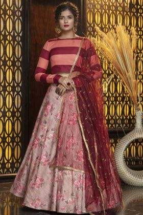 Stunning Maroon And Peach Rayon Lehenga Choli For Party Wear