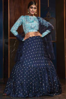 Stunning Navy Blue Cotton Heavy Designer Lehenga Choli