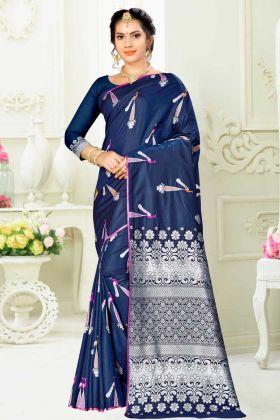 Stunning Navy Blue Banarasi Art Silk Fesitval Saree With Weaving Work