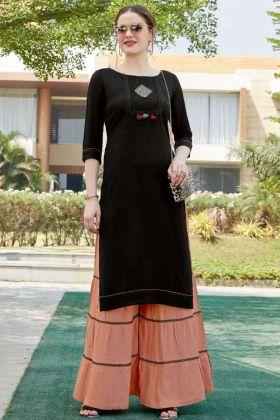 Stylish Beige Sharara And Black Kurti In Heavy Rayon Fabric Online