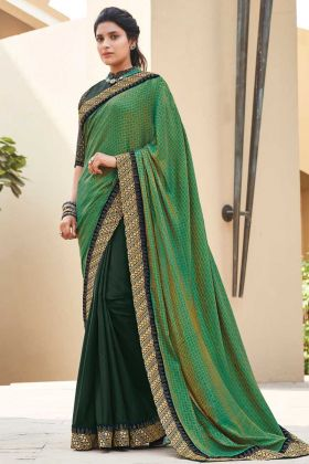 Stylish Green Color Fancy Saree With Heavy Broad Border