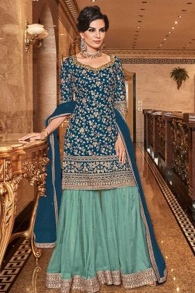 Stylish Heavy Sharara Suit Designs In Blue