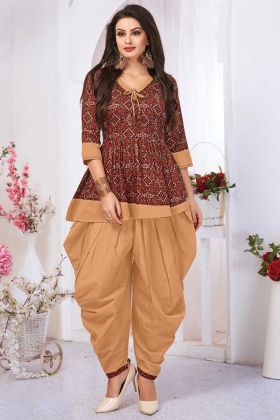 Stylish Maroon Color Pure Cotton Kurti With Dhoti Set