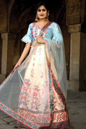 Stylish New Design satin Sky Blue Party Wear Lehenga