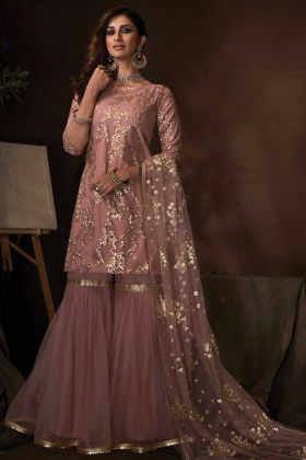 Stylish Purple Color Soft Net Sequins Work Party Wear Sharara Suit