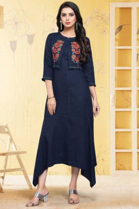 Stylish Women's Linen Navy Blue Readymade Kurti