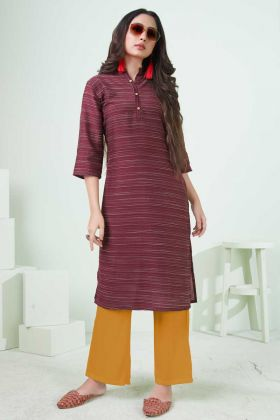 Stylish Womens Cotton Maroon Printed Kurti