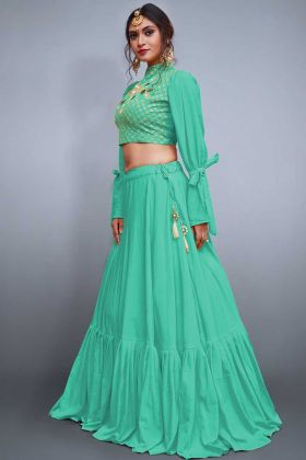 Stylish Crepe Silk Sea Green Color Lehenga