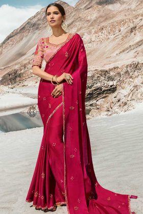 Stylish Dark Pink Color Dola Silk Fancy Saree