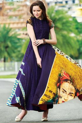 Stylish Digital Printed Maslin Cotton Festive Gown Navy Blue Color