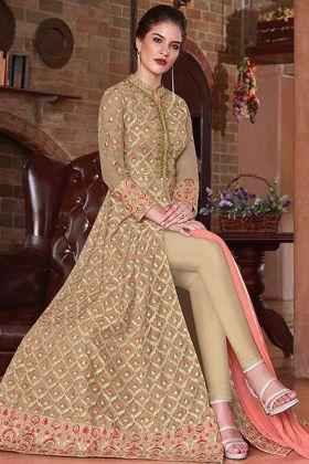 Stylish Embroidery Net Party Wear Slit Salwar Suit In Beige Color