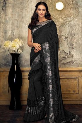 Stylish Fancy Lycra Partywear Ruffle Sarees Black Color