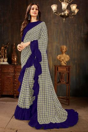 Stylish Grey Soft Art Silk Ruffle Party Wear Saree With Printed Work
