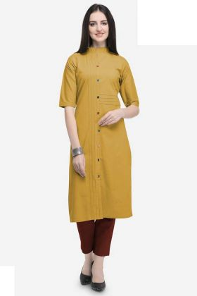 Stylish Kurti Cotton Buttons Work In Mustard Yellow Color