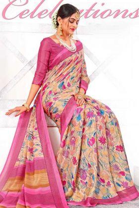 Stylish Linen Silk Designer Multi Color Saree